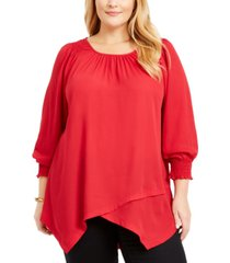 ny collection plus size smocked-cuff blouse