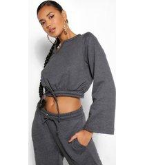 mix & match ingekorte sweater met knopen, houtskool
