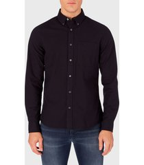 camisa calvin klein jeans oxford solid slim non stretch negro - calce stretch