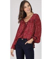 blusa feminina ampla estampada animal print onça manga longa decote v vinho