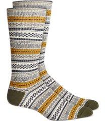 sun + stone men's green geo stripe socks