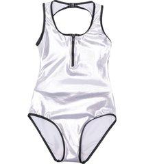 andorine zipped metallic swimsuit - grey