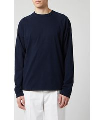 acne studios men's reverse label long sleeve t-shirt - navy blue - xl