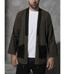 hombres otoño invierno abrigo informal patchwork cárdigan de doble bolsillo