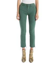 women's mother the rascal ankle snippet jeans, size 32 - green