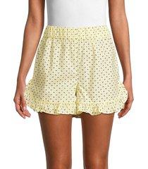ganni women's printed cotton shorts - anise flower - size 40 (8)