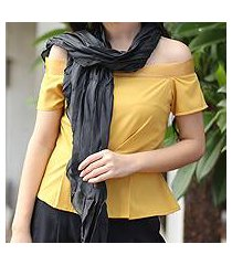 pleated scarf, 'evolving black' (thailand)