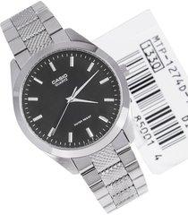 reloj casio caballero elegante mtp-1274d-1a color plateado