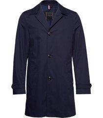 cotton car coat dunne lange jas blauw tommy hilfiger tailored