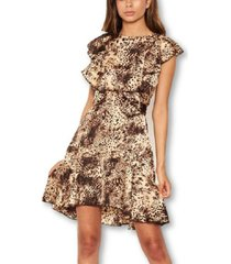 ax paris women's animal print frill dress