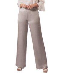 pantalón adrissa fiesta wide leg efecto perlado gris plata