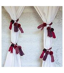 cotton curtain tiebacks, 'abundant beauty' (set of 4) (mexico)
