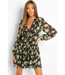 bloemenprint veter mini jurk met ruches, black