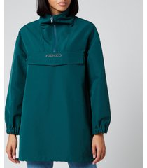 kenzo women's half zip hoodie - duck blue - m