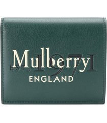 mulberry embossed logo trifold wallet - green