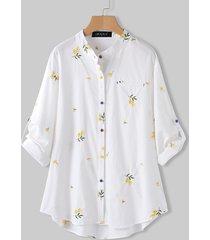 camicetta per colletto alla coreana con ricamo a maniche lunghe per donna