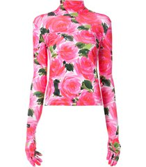 richard quinn floral print gloved t-shirt - pink