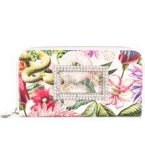philipp plein crystal floral continental wallet - white