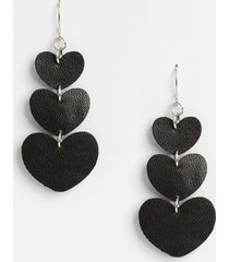 maurices womens black faux leather hearts drop earrings