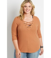 maurices plus size womens 24/7 solid lace up long sleeve tee