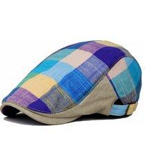 unisex berretto coppola in cotone colorato a scacchi berretto di ivy cabbie newsboy