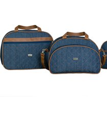 conjunto 02 peças mala e bolsa maternidade lyssa baby jeans