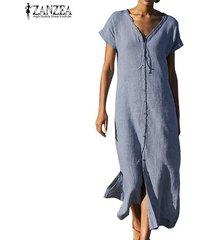 zanzea verano de las mujeres de manga corta con cuello en v larga dividida por kaftan vestido más del tamaño -azul