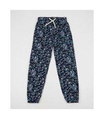 calça jeans infantil pijama jogger estampada floral com cordão azul marinho