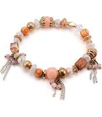 braccialetti con perline di boemia perle con ciondoli con perle e perline rosa irregolari