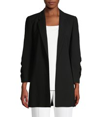 lafayette 148 new york women's cole ruched sleeve crepe blazer - cloud - size l