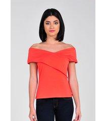 blusa off shoulder de mujer vestimenta vw174-1102-750 rojo