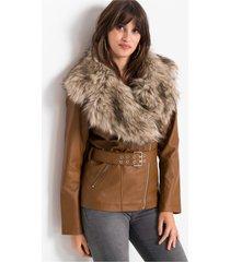 imitatieleren jas met fake fur