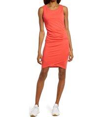 women's treasure & bond ruched sleeveless jersey dress, size x-small - red