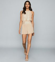reiss coco - embroidered resortwear playsuit in nude, womens, size 12