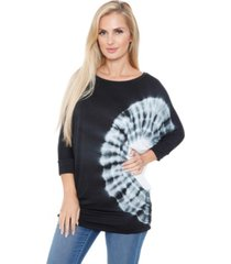 white mark women's banded dolman tie-dye top