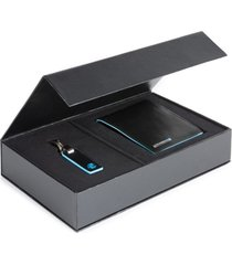 piquadro set portafoglio e portachiavi blue square