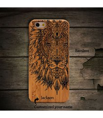 for iphone6/6splus samsung  natural wooden wood lion taatoo phone case cover