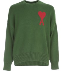 ami alexandre mattiussi oversized ame de coeur crew neck sweater cotton wool