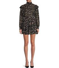 70/21 women's floral-print chiffon dress - black multi - size l