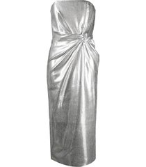 16arlington metallic twist fitted dress - silver