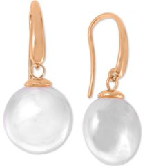 majorica sterling silver imitation pearl coin drop earrings