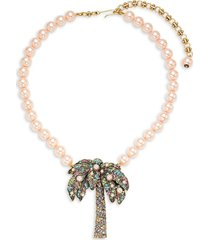 heidi daus women's faux pearl & crystal palm tree necklace