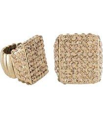 anel armazem rr bijoux regulável cristal quadrado dourado - feminino