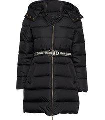 ax woman down jacket gevoerde lange jas zwart armani exchange