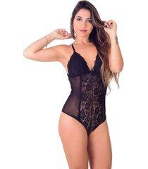 body vip lingerie de renda e tule decote nas costas preto
