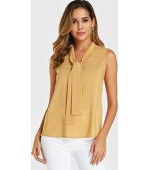 yoins blusa sin mangas de gasa con diseño de amarre amarillo