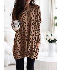 camiseta de manga larga con diseño de bolsillo de leopardo marrón