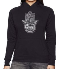 la pop art women's word art hooded sweatshirt - hamsa