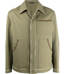 fendi trimmed work jacket - green