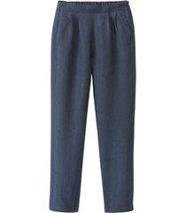 comfortabele linnen broek, nachtblauw 38